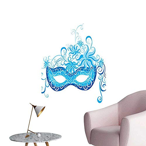 Wall Stickers for Living Room Venetian Mask Majestic Impersonating Enjoying Halloween Theme Image Print Navy Blue Vinyl Wall Stickers Print,16