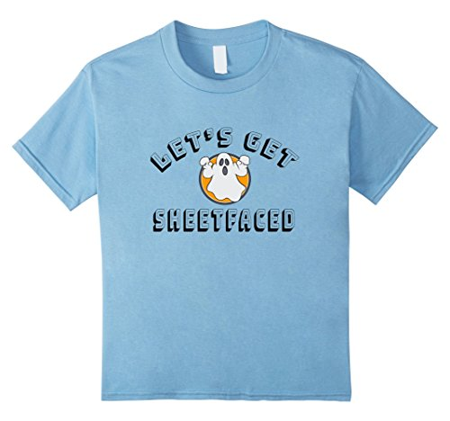 Kids Let's Get Sheetfaced Drinking Game Halloween Party T Shirt 8 Baby (Best Punny Costumes)