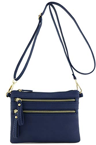Multi Zipper Pocket Small Wristlet Crossbody Bag Navy