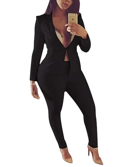 Amazon.com: Blazer de manga larga para mujer de 2 piezas con ...