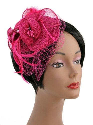 UPC 632687037392, NYFASHION101 Cocktail Fashion Sinamay Fascinator Hat Flower Design & Net F09085, Fuchsia