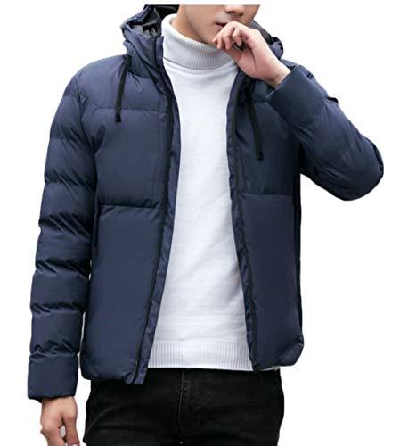 TTYLLMAO Men's Solid Winter Thickened Hoodie Down Quilted Coat Jacket Overcoat 2