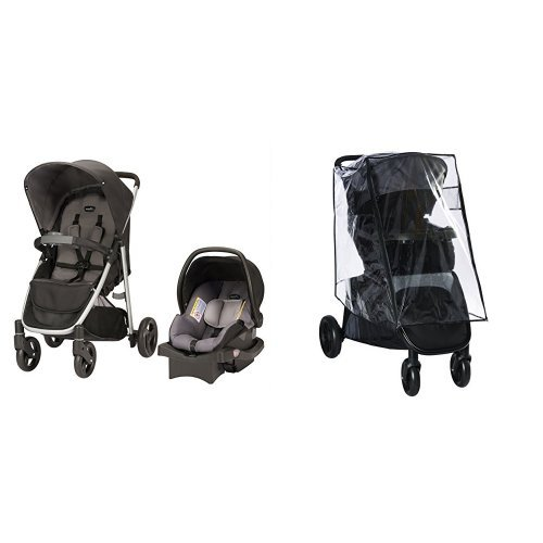 Evenflo Flipside Travel System, Glenbarr Gray with Stroller Weather Shield & Rain Cover