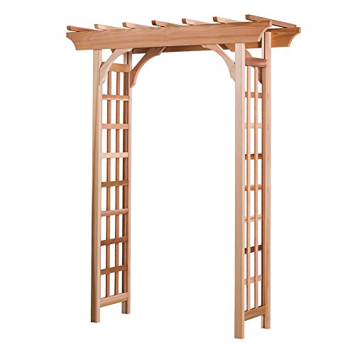 Arboria Rosedale Garden Arbor Cedar Wood Over 7ft High Pergola Design with Curved Corners - Arbor With Gate