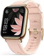 AGPTEK Smartwatch, 1,69 inch polshorloge met gepersonaliseerd scherm, muziekbediening, hartslag, stappenteller, calorieën, enz. IP68 waterdichte fitnesstracker, voor iOS en Android, roze