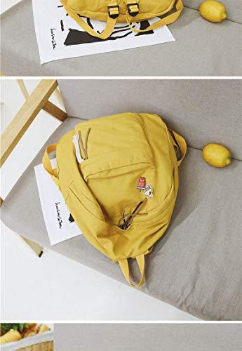 Dos Cartable Grande École Sac Femmes Femme Étudiant Filles Escolar À Pour VHVCX Mochila Capacité Dos Sac À Jeunes Yellow Mode Toile T1657qw8