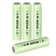 uxcell® 4 Pcs 1.2V 300mAh AAA Ni-MH Battery Shaver Rechargeable Batteries Tip Head for Solar lights Garden Lamp