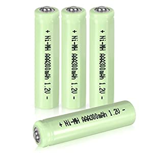 uxcell 4 Pcs 1.2V 300mAh AAA Ni-MH Battery Rechargeable Batteries Button Top for LED Flashlight Headlamp