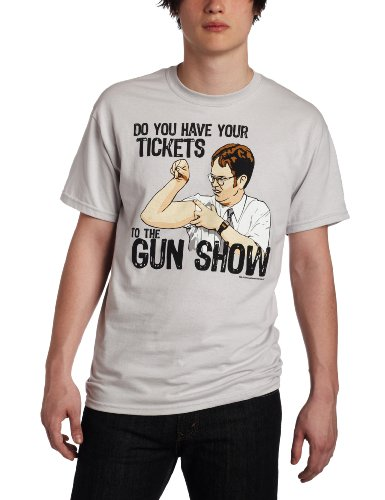 T-Line Men's The Office TV Series Gun Show Graphic T-Shirt, Ice Grey, Medium