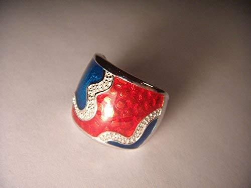 Gorgeous Vintage Estate .925 Sterling Silver Enamel Diamond Ring Band -