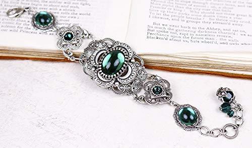 Antiqued Filigree Renaissance Style Bracelet with Featured Quatrefoil Centerpiece and Glass Stones - Canterbury
