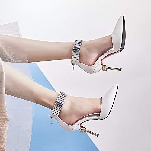 Yukun zapatos de tacón alto Zapatos De Tacón Alto Plateados De Primavera Y Otoño con Zapatos De Boca Ancha Versátiles Zapatos Femeninos De Marea Roja, 37, Color De Pistola White