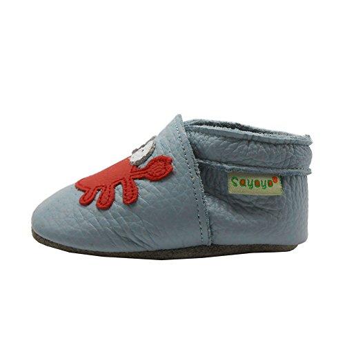 Sayoyo Suaves Zapatos De Cuero Del Bebé Zapatillas El cangrejo lindo gris