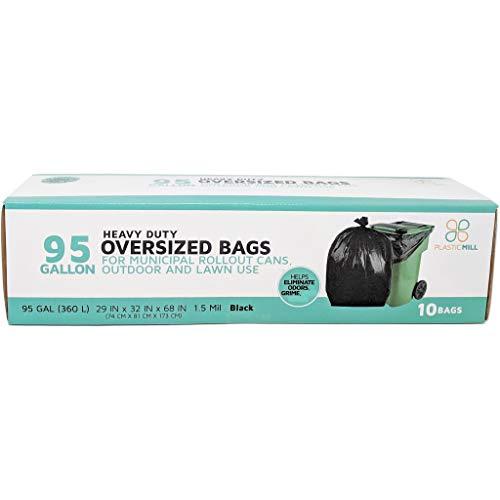 PlasticMill 95 Gallon Garbage Bags: Black, 1.5 Mil, 61x68, 10 Bags.