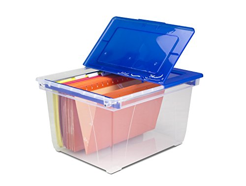 Storex Heavy Duty File Tote with Steel Rails, 19.25 x 15.6 x 10.9 Inches, Clear/Blue, 1 Tote (61526B01C)