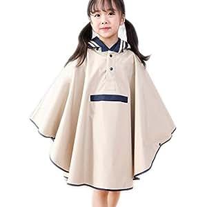 Raincoat M/L Children's Cloak raincoat Boys and Girls with Bag raincoat Poncho (Color : Beige, Size : M)