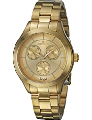 Invicta Womens Angel Quartz Stainless Steel Casual Watch, Color:Gold-Toned (Model: 21694)