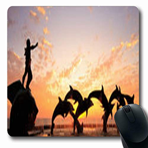 (Pandarllin Mousepads of Statues Dolphins Fountain Front Bright Sky Orange Nature Mazatlan Parks Outdoor Ocean Oblong Shape 7.9 x 9.5 Inches Oblong Gaming Mouse Pad Non-Slip Rubber Mat)