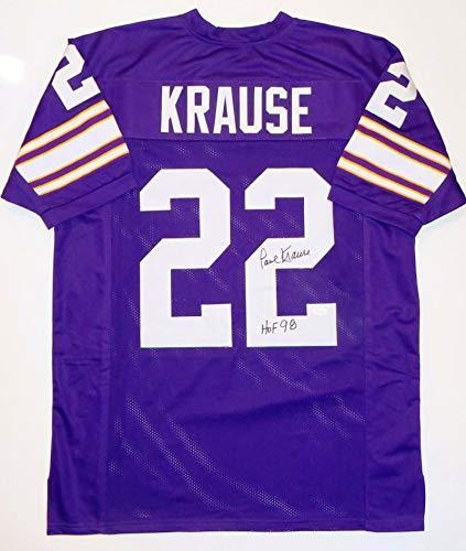 2bb22c87edb Paul Krause Autographed Jersey - Purple Pro Style w HOF Witnessed Auth *R2  - JSA