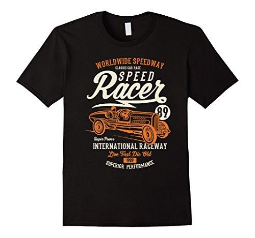 Mens Classic Racer (Mens Classic car speed racer T-shirt Medium Black)