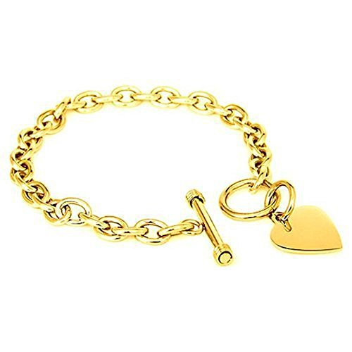 Tiffany Style Heart Toggle Bracelet - 22mm 18k-Gold Plated Designer Inspired Engravable HEART CHARM .925 Sterling Silver Toggle LockCustomize Length: 6, 7, 8