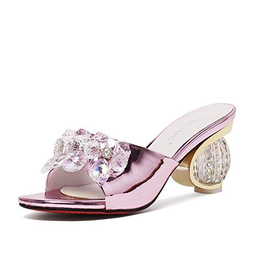 Media Rosa Zapato Del Cristal,Rhinestone Flip Flops,Peces Boca Zapatillas Zapatos De Tacón Alto Rosa
