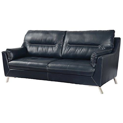 Amazon.com: Furniture of America Dubas Faux Leather Sofa in Dark ...