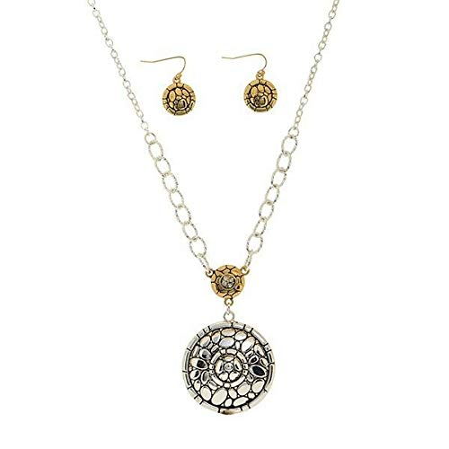 Medallions 0.875 - Two Tone Silver Gold Medallion Circle Pendant Necklace 7/8 Earrings Set id-3115
