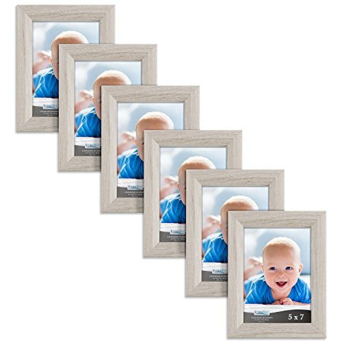 Icona Bay 5x7 Picture Frames Set of 6 (5 x 7, Heritage Gray Wood Finish), Picture Frame Set Wall Hang Table Top, Cherished Memories Collection