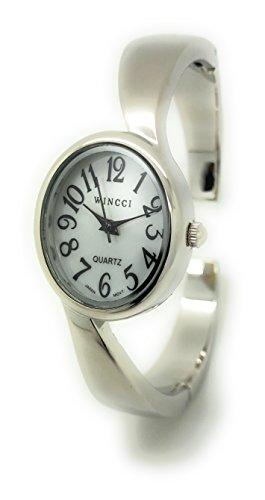 Ladies Casual Elegant Metal Bangle Cuff Fashion Watch Pearl Dial Wincci (Pearl Dial Bangle Watch)