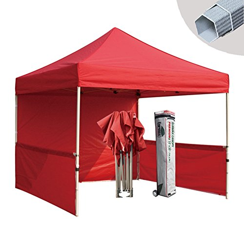 Eurmax Pre 10x10 Pop up Canopy Folding Gazebo Event Tent Trade Show Booth Market Stall with Roller Bag, Red