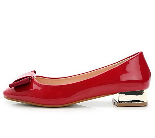 Heels Bowknot Low with On Pumps Pull Leather Toe Patent Square Womens AalarDom Red Shoes 7xn1p1