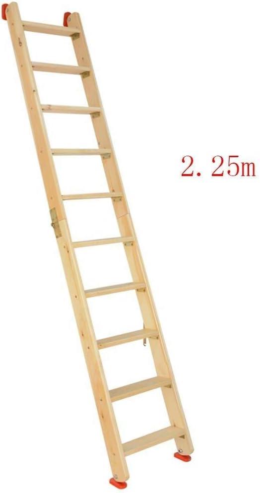 CAIJUN Plegable Escalera Multifuncional Casa Espesar Madera Maciza Plegable Portátil La Seguridad Escalera De Espiga Antideslizante, 4 Tallas Doble Uso (Color : Wood Color, Size : Full Length 2.5m): Amazon.es: Hogar