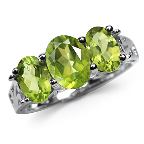 (3.01ct. 3-Stone Natural Peridot 925 Sterling Silver Filigree Ring Size 10)