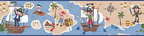 Chesapeake HAS01161B Raegan Navy Pirates Ahoy Wallpaper Border