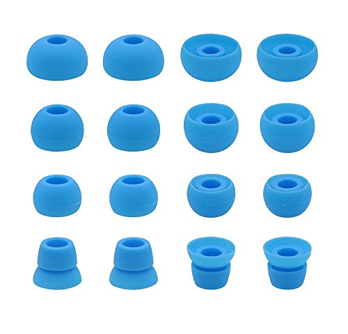 Blue Earbud Covers - Ear Tips for Powerbeats 2 Headphone, Diana Fay Ear Gels Eartips Earphone Cover Earbud Cushions for Beats Powerbeats2 PB 2 Earbuds, 8 Pairs Set S/M/L/Double Flange 4 Sizes Soft Gel, Blue
