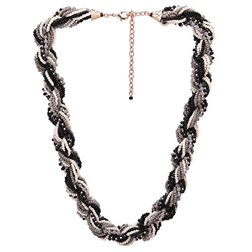 (El Allure Preciosa Jablonex Seed Bead Ropes Binded Black,Grey and Off White Seed Beaded Handmade Stylish Costume Short Necklace for Women.)