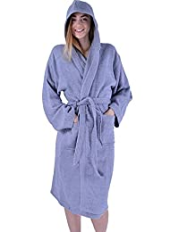 Womens 100% Egyption Cotton Luxury Gown Super Soft Hooded Plush Bathrobe