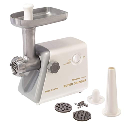 Panasonic Meat Grinder, Electric Heavy Duty with Sausage Stuffer and Kubbe Maker Attachments, Precision Japanese Technology, Multifunctional Tabletop, 1, White
