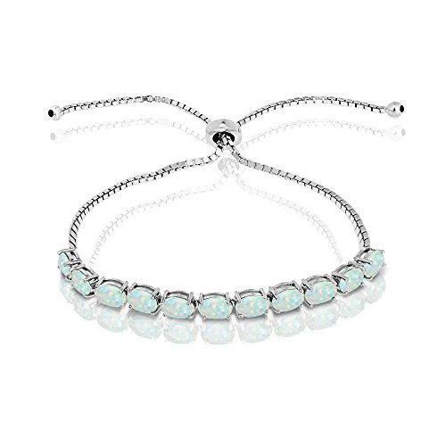 GemStar USA Sterling Silver Simulated White Opal 6x4mm Oval-Cut Adjustable Tennis Bracelet ()