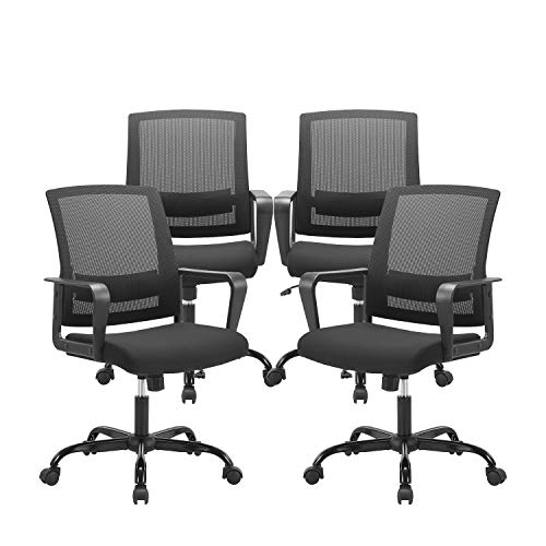 CLATINA Ergonomic Rolling Mesh Desk Chair with Executive Lumbar Support and Adjustable Swivel Design for Home Office Computer BIFMA Certified Black 4 Pack
