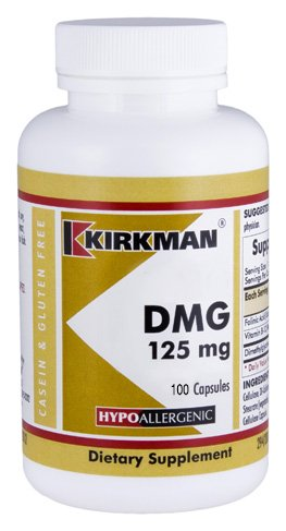 Kirkman DMG (Dimethylglycine) 125 mg – Hypoallergenic || 100 vegetarian capsules || Gluten and Casein Free || Capsules are plant based || Tested for more than 950 environmental contaminants.