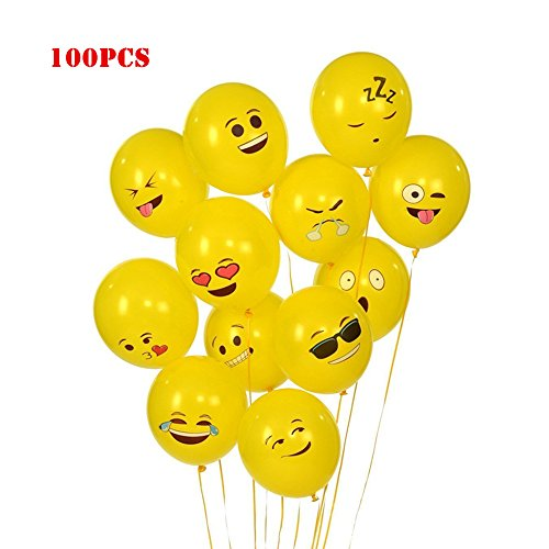 Elloapic 100 Pieces Emoticons-Balloons Wedding Holiday Party Celebration Children's Birthday Layout Scene Atmosphere Decorations, Yellow -