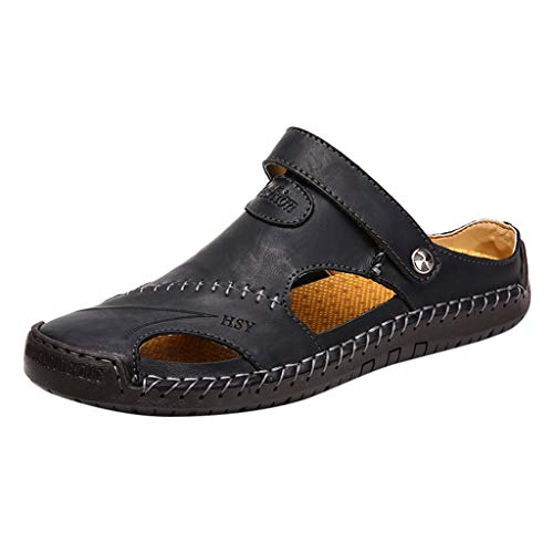 (Round Toe Breathable Soft Casual Beach Slippers-AopnHQ Mens Loafers Shoes,Men's Leather Rivet Business)