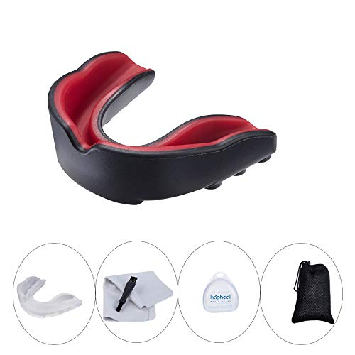 (haphealsport Sport Mouth Guard with Cleaning Cloth,Cleaning Brush,Portable mesh Bag (red Black + Clear))