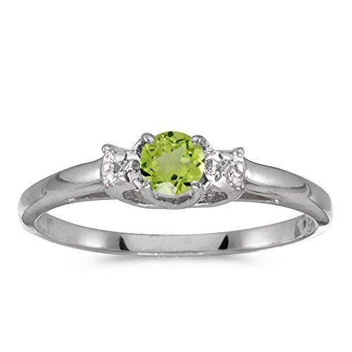 0.25 Carat ctw 14k Gold Round Green Peridot & Diamond Bypass Halo Engagement Anniversary Fashion Ring - White-gold, Size (0.25 Ct Peridot Ring)