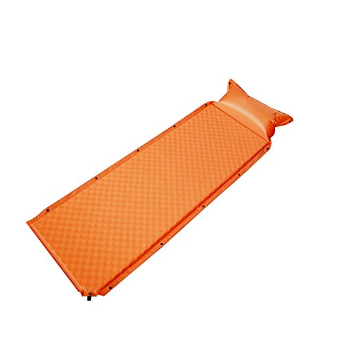Self Inflating Sleeping Pad with Pillow for Backpacking - Lightweight, Ultralight, Compact, Foldable & Insulated Sleeping Mat For Women, Men & Adults - Great For Camping, Hiking, Orange