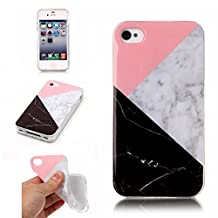 iPhone 4 4S Protective Phone Case, GreenDimension [Marble Pattern Creative Design] Slim Flexible Soft Silicone Clear Transparent Bumper Scratch Resistant Gel TPU Rubber Glossy Shock Absorbing Cover
