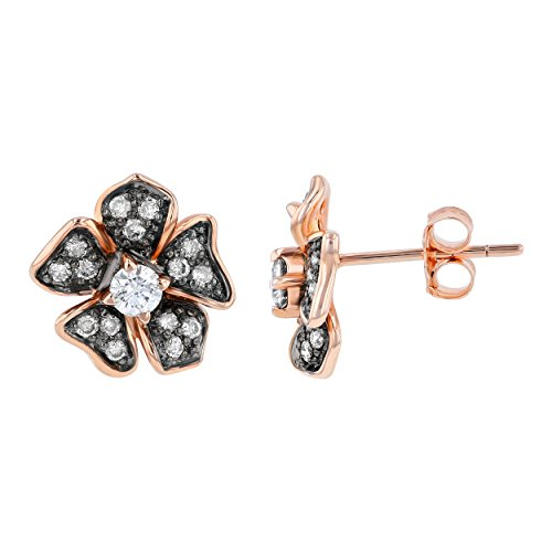 (Olivia Paris 1/2 Carat (ctw) Champagne and White Diamond Flower Stud Earrings in 14K Rose Gold (H-I, I1) )