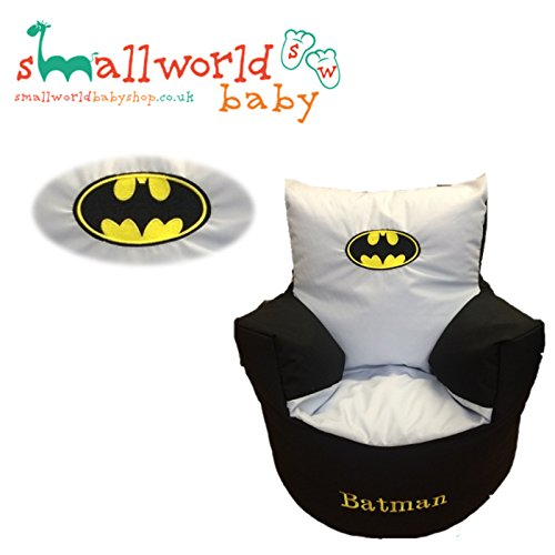 CHILDRENS KIDS TODDLER PRE FILLED PERSONALISED BEAN BAG CHAIR SEAT BATMAN GIRLS BOYS (NEXT DAY DISPATCH) Small World Baby Shop